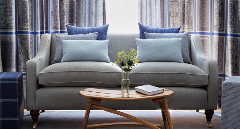 blue palm tree velvet sofa