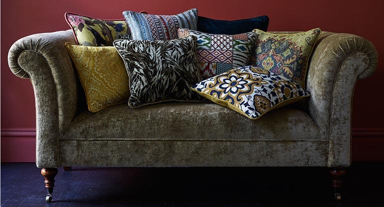 velvet fabric curtain, cushion and cahir