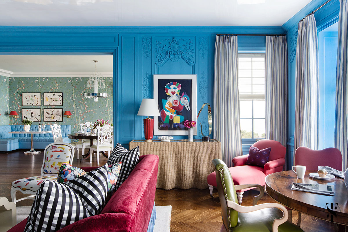 Blue Eclectic Living Room