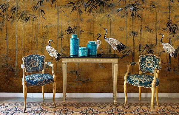 Gold Mural Wallpaper Bedroom