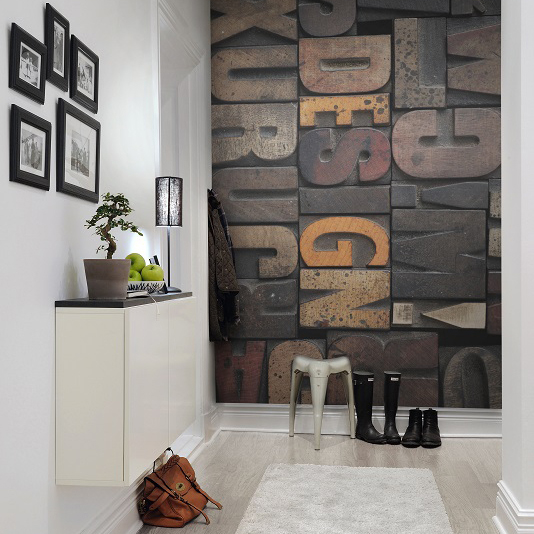 Hallway with graphic wall panel feature