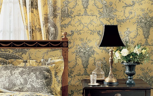yellow and white toile wallpaper with matching fabric lampshade