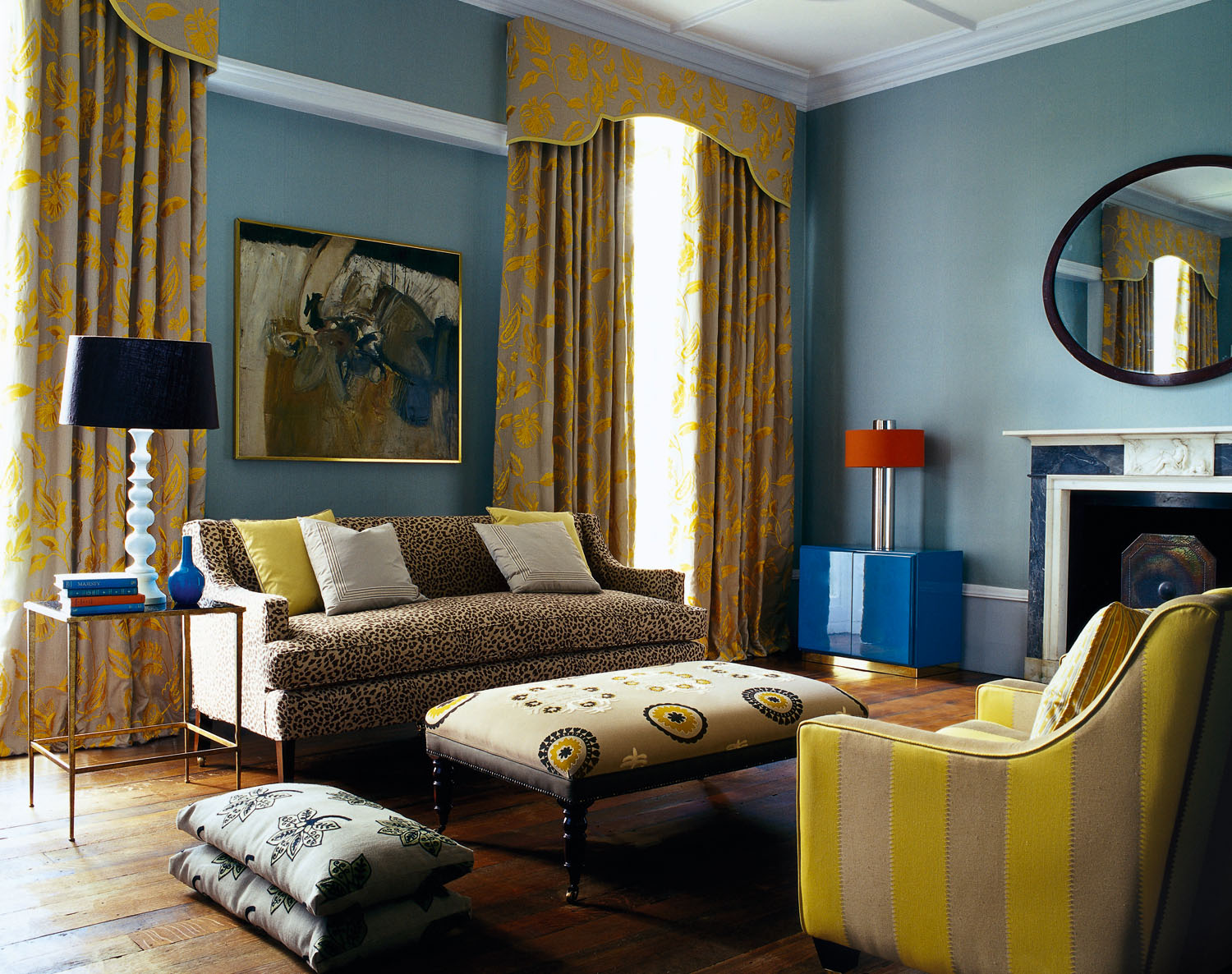 Teal painted Drawing Room with Embroidered Linen Curtains