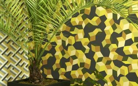 Yellow, white and black geometric wallpaper