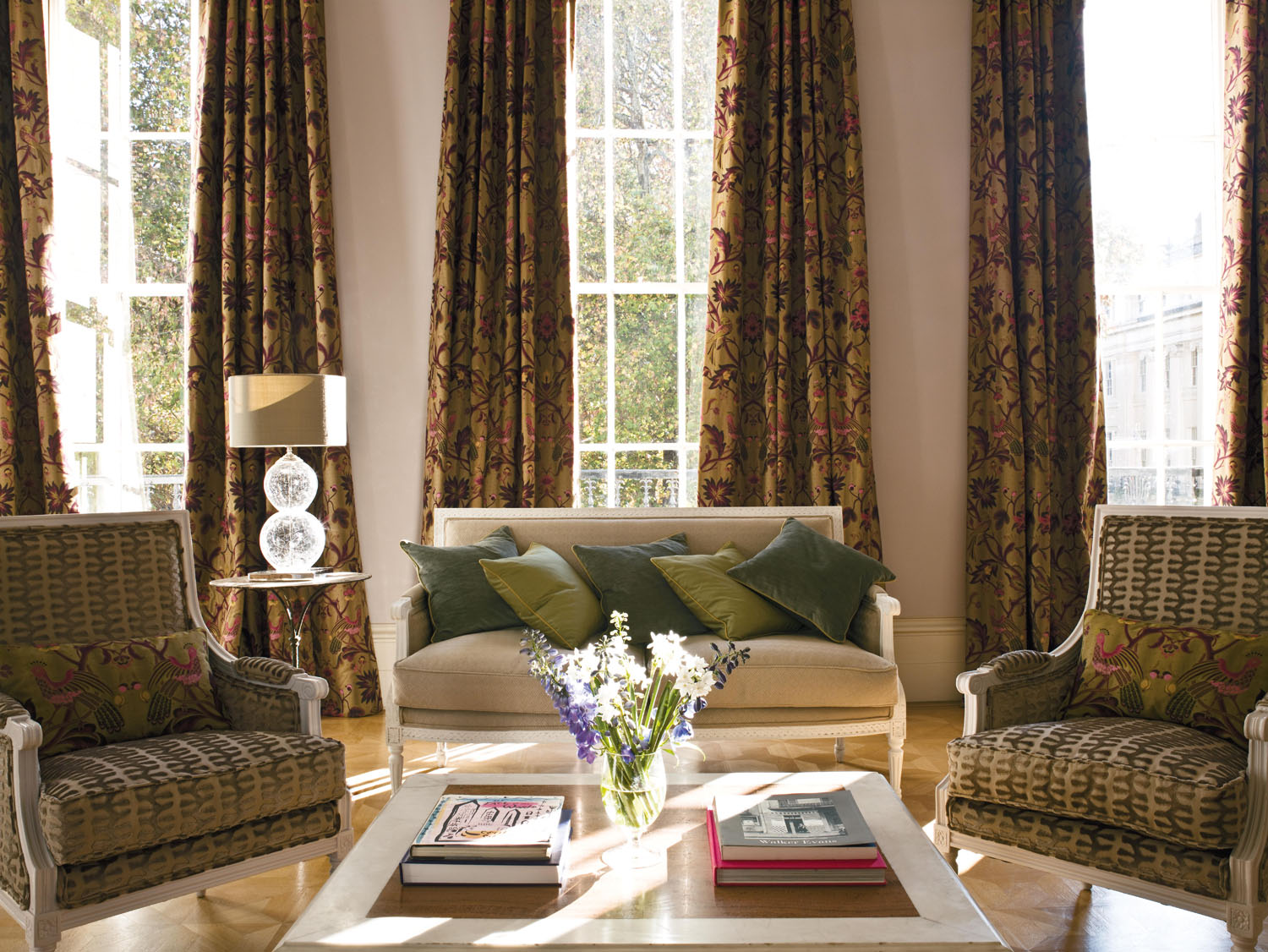 Large Drawing Room with Jacquard Curtains